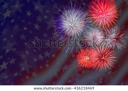 Celebration fireworks over American flag background. 4th of July beautiful fireworks. Independence Day holidays salute. - stock photo