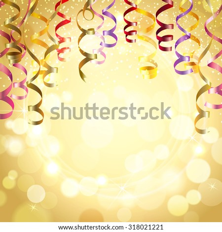 Celebration golden color background with realistic festive streamers  illustration