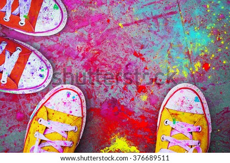 Celebration Holi. Detail close-up - stock photo