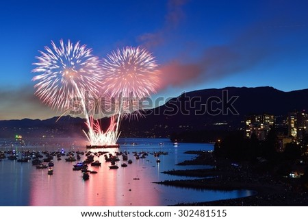 Celebration of Lights, fireworks display at English Bay, Vancouver, BC - stock photo