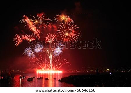 Celebration of Lights, fireworks display at English Bay, Vancouver, BC - stock photo