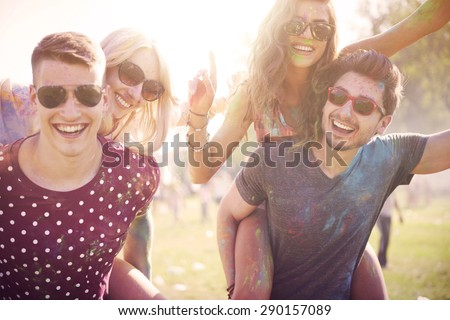 Celebration of summer with friends  - stock photo