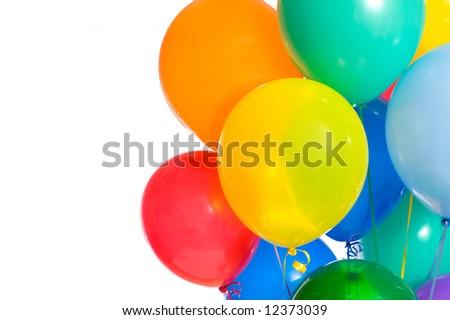 Celebration or birthday Party balloons on a white background - stock photo
