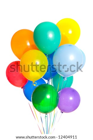 Celebration or birthday Party balloons on a white background