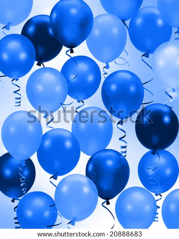 Celebration or birthday Party blue balloons background - stock photo