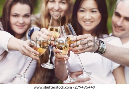 Celebration. People holding glasses of champagne making a toast outdoors. Summer picnic