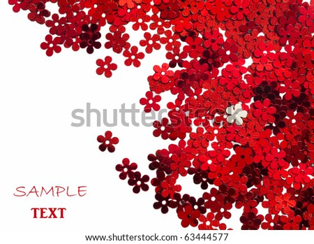 celebration red, floral confetti isolated on white background - stock photo
