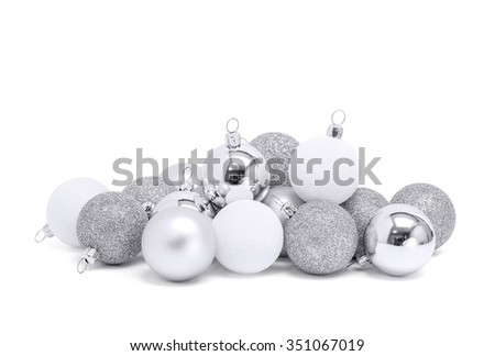 celebration silver christmas ball for decoration isolated on white background with clipping path - stock photo