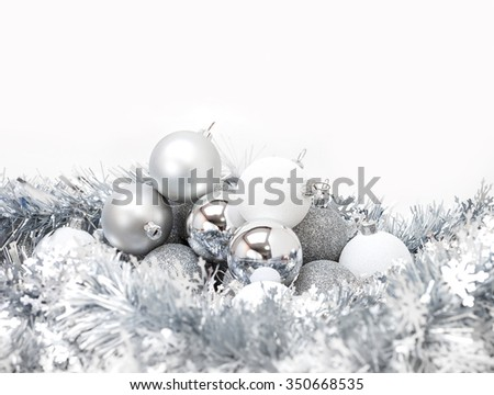celebration silver christmas ball on white background