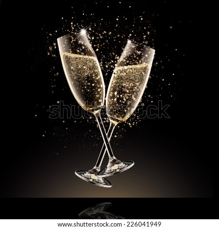 Celebration theme. Glasses of champagne with bubbles, isolated on black background - stock photo