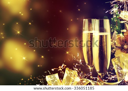 Celebration theme with champagne wine - stock photo