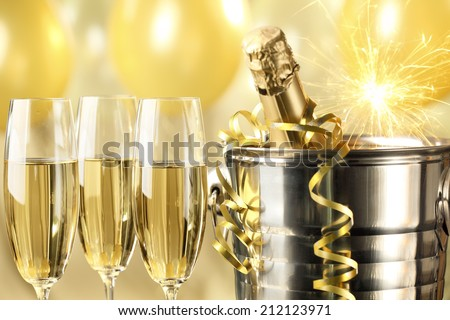 Celebration with Champagne,closeup. - stock photo