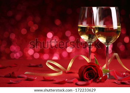 Celebration with wine and rose - stock photo