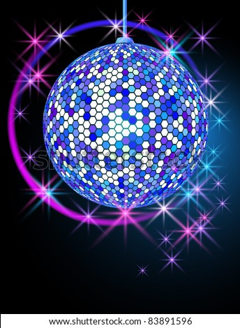 Celebratory background with disco ball - stock photo