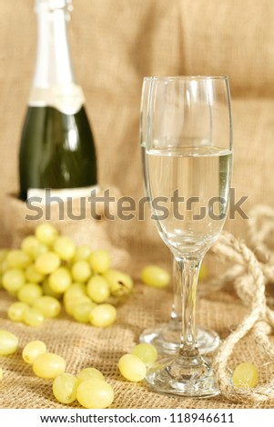 celebratory champagne with glasses on the background of the stylish - stock photo