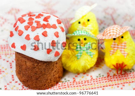 Celebratory Easter bread decoration color red hearts