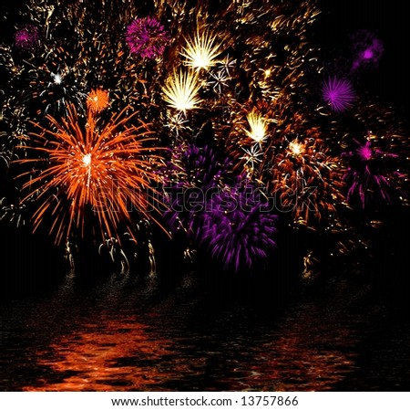 Celebratory firework reflection in water - stock photo