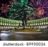 Celebratory fireworks over Republic square. Italy. Rome - stock photo