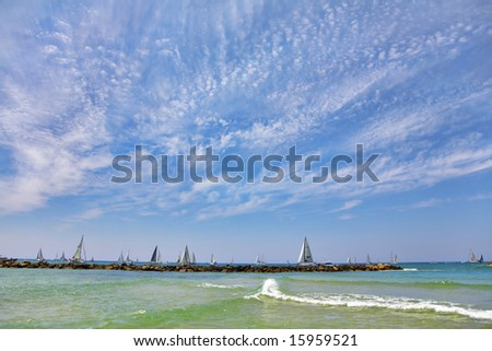 Celebratory parade. Hundred magnificent sailing yachts in Mediterranean sea - stock photo