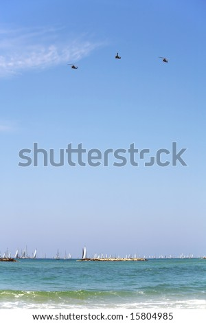 Celebratory parade. Three fighting helicopters and hundreds sailing yachts on quay Tel-Aviv - stock photo