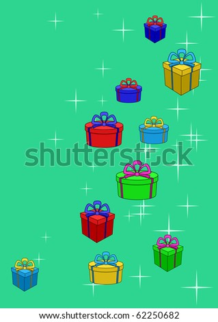 Celebratory picture: boxes with gifts on a colour background with stars.
