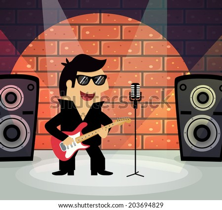 Celebrity rock star on stage with guitar and microphone  illustration - stock photo