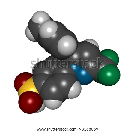 Celecoxib NSAID drug molecule, chemical structure. - stock photo
