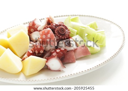 celery and boiled octopus for food ingredient image - stock photo