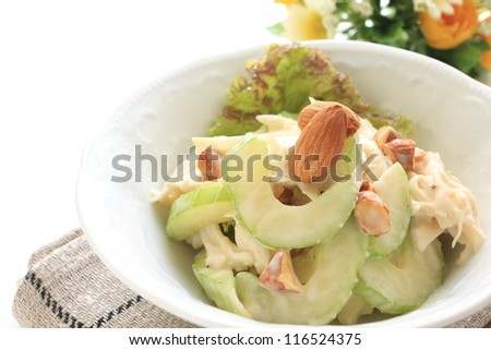 celery and chicken salad with almond topping - stock photo