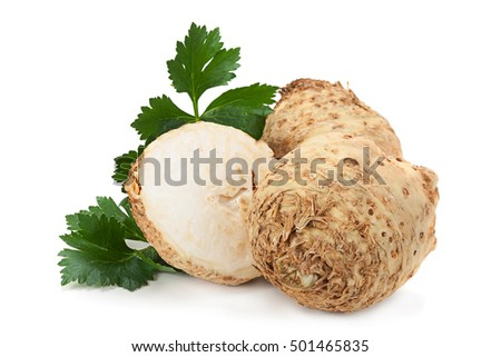 Celery root with leaf isolated on white background