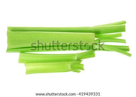 Celery Stalks on White Background - stock photo