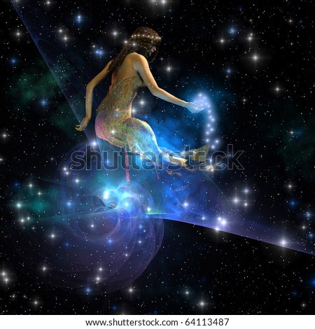 CELESTA - Celesta, spirit creature of the universe, spreads stars throughout the cosmos. - stock photo