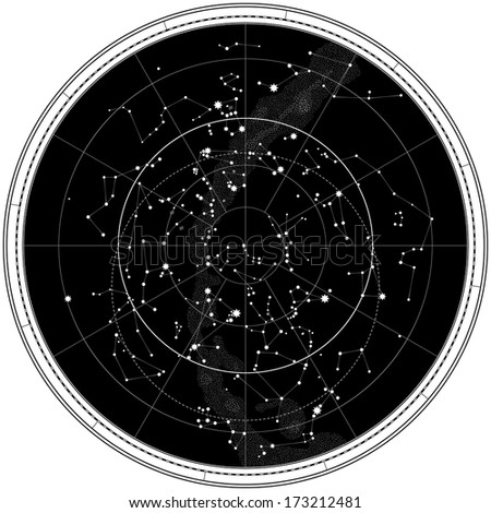 Celestial Map of The Night Sky. Astronomical Chart of Northern Hemisphere. (This JPEG-file has a EPS-8 copy in my portfolio). - stock photo