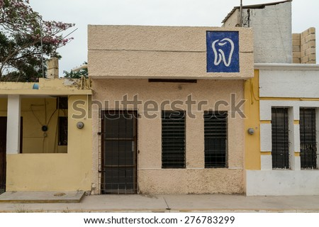 Celestun, MEXICO - March 27, 2015: Denist office in Celestun, Yucatan - stock photo