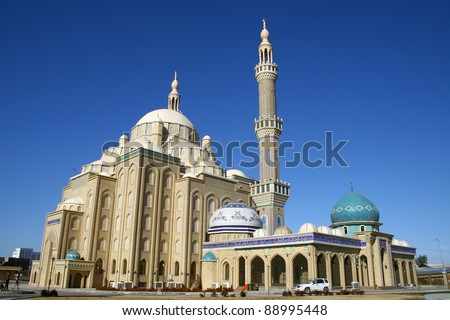 Celil Hayat Mosque in Arbil City,Kurdistan,Iraq. - stock photo