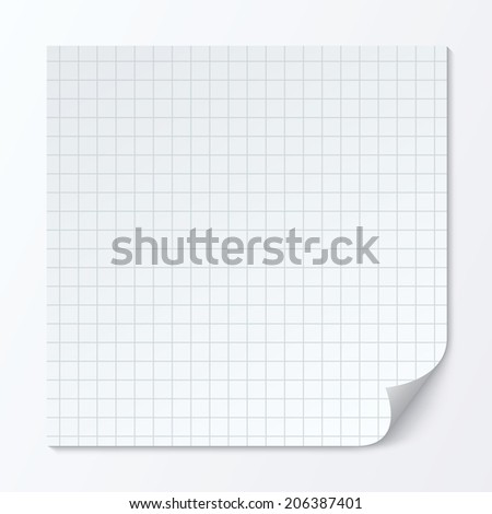 Cell page sheet with rounded corner. Sheet of graph paper. Grid seamless squares background.