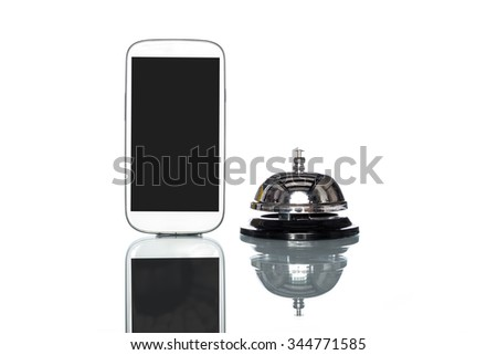 cell phone and Service bell on white background - stock photo