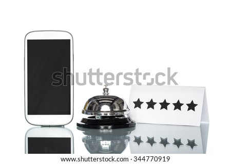 cell phone and Service bell on white background, Five Stars Services - stock photo