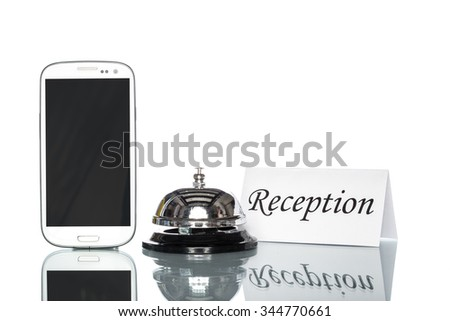 cell phone and Service bell on white background, reception - stock photo