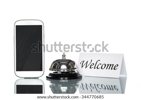 cell phone and Service bell on white background, welcome - stock photo