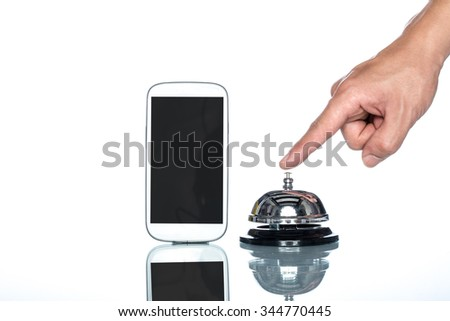 cell phone and Service bell with human hand on white background - stock photo
