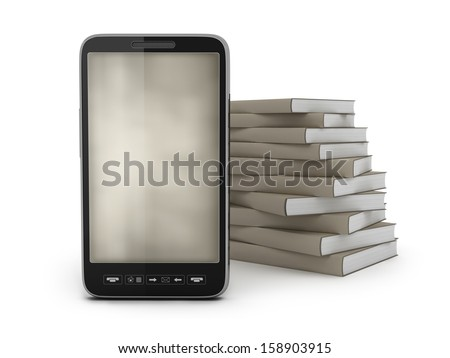 Cell phone and stack of books - stock photo