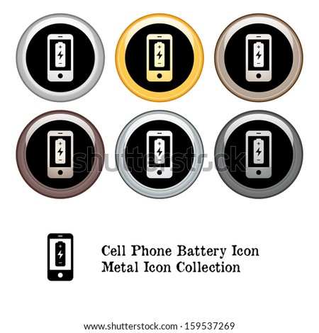 Cell Phone Battery Icon Metal Icon Set.  Raster version. - stock photo