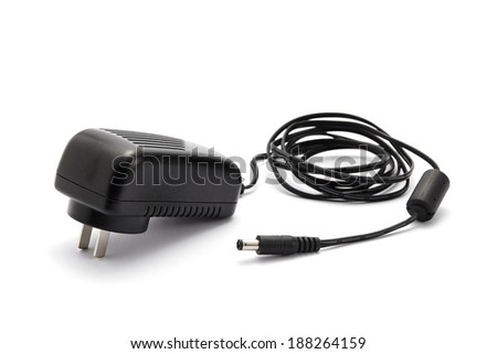 Cell phone charger isolated on white background - stock photo