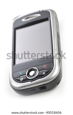cell phone close up on white - stock photo