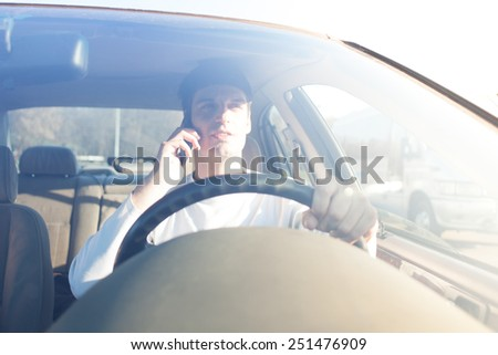 cell phone driving - stock photo