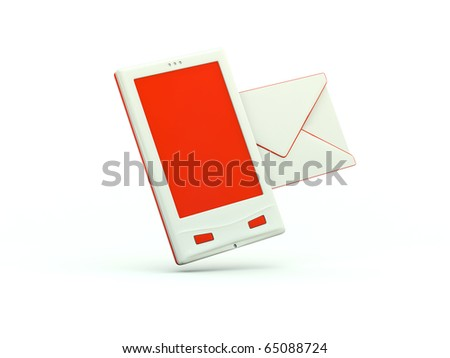 Cell phone icon. Red series - stock photo