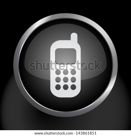 Cell Phone Icon Symbol - Raster Version, Vector Also Available. - stock photo