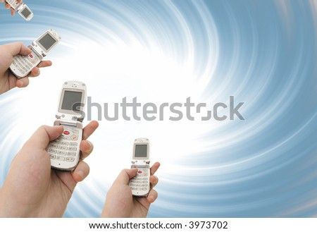 Cell phone in a man hand. Distorting effect - stock photo