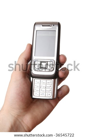 Cell Phone in a man hand. Isolated on white background. - stock photo